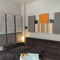 acoustic diffusers and absorbers in living room