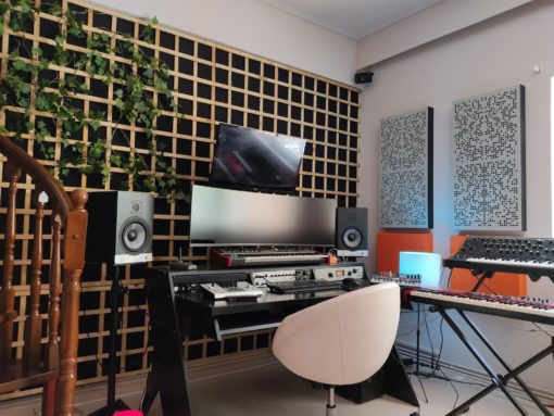binary acoustic panels in a studio